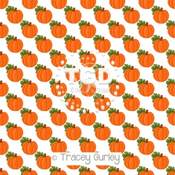 Pumpkin Pattern Repeat on White digital paper Printable Tracey Gurley Designs