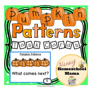 Pumpkin Pattern Task Cards for Practicing Patters - 36 Cards