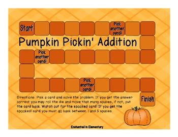 Pumpkin Pickin' Addition! Addition Facts Practice
