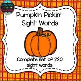 Pumpkin Pickin' Sight Words! Complete Set of 220 Sight Words