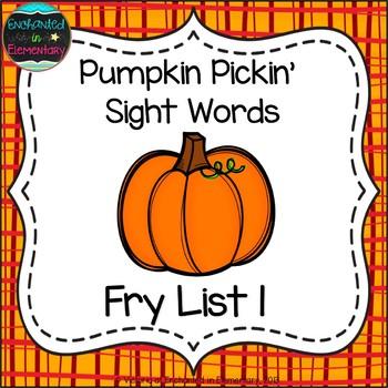 Pumpkin Pickin' Sight Words! Fry List 1