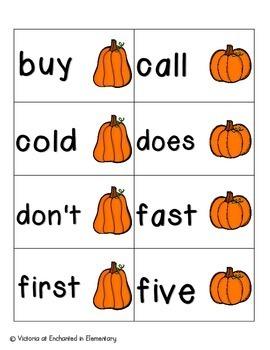 Pumpkin Pickin' Sight Words! Second Grade List Pack