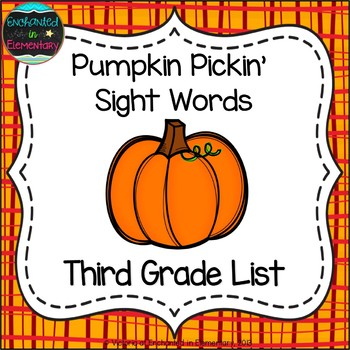 Pumpkin Pickin' Sight Words! Third Grade List Pack