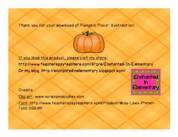 Pumpkin Pickin' Subtraction! Subtraction Facts Practice