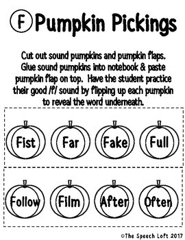 Pumpkin Pickings | NO PREP | Articulation Notebook Activity