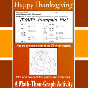 Pumpkin Pie - 30 Linear Systems & Coordinate Graphing Activity