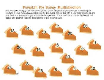 Pumpkin Pie Bump Game- Multiplication & Addition