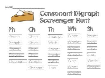 Pumpkin Pie Consonant Digraph Scavenger Hunt {Includes 3 Activities!!}