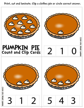 Pumpkin Pie Count and Clip cards (Numbers 0-10 plus worksheets)