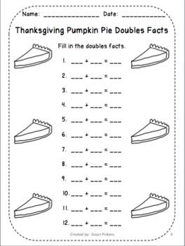 Pumpkin Pie Doubles Facts 1-12