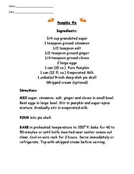 Pumpkin Pie - Recipe Reading Comprehension