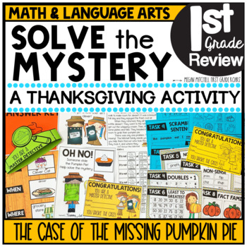 Pumpkin Pie Thanksgiving Activities Task Cards BUNDLE