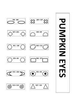 Pumpkin Pieces Activity - Three Digit Addition and Subtraction with Regrouping