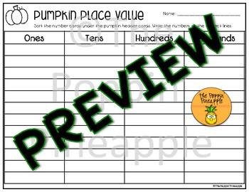 Pumpkin Place Value Sort