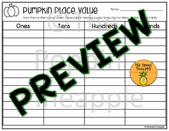 Pumpkin Place Value Sort