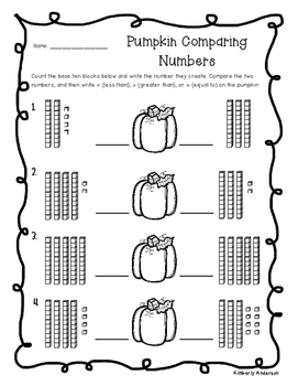 Pumpkin Place Value Number Comparisons - Greater than, Less than, Equal to