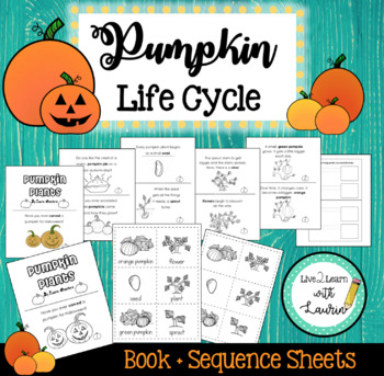 Pumpkin Plants Life Cycle Book & Sequence Activity (coloring option)