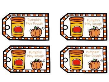 Pumpkin Play Dough Recipe and Labels