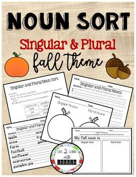 Singular & Plural Nouns Printables: Fall Theme