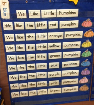 Pocket Chart Sight Word & Writing Center - Pumpkins - We like little pumpkins