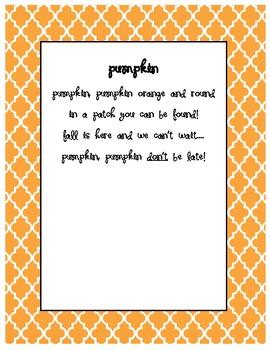 Pumpkin Poem Hand Print Craftivity