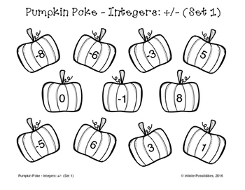 Pumpkin Poke - Adding and Subtracting Integers