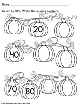 Pumpkin Counting, Numbers 1-100, Skip Counting Math Center & Pages