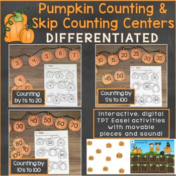 Pumpkin Counting, Numbers 1-100, Skip Counting Math Center