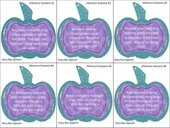 Pumpkin Prediction & Inference Task Cards for Speech Therapy