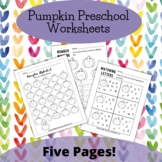 Pumpkin Preschool Number and Letter Recognition Worksheets