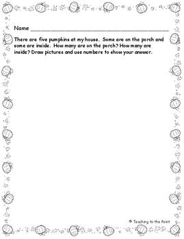 Pumpkin Problem Solving Math Activity K - 1