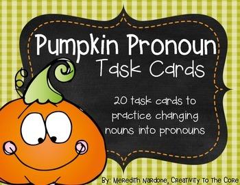 Pumpkin Pronoun Task Cards