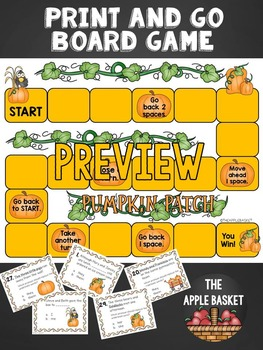 Pumpkin Pronouns Print and Go Board Game for Grades 2 and 3