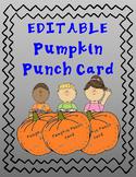 Pumpkin Punch Card EDITABLE