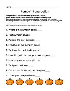 Pumpkin Punctuation assessment