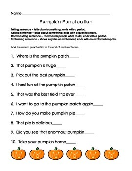 Pumpkin Punctuation assessment