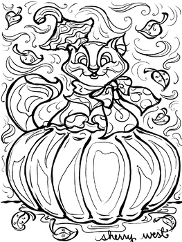 Pumpkin Puss, Autumn Fall Coloring Page, Clip Art, Writing Prompt