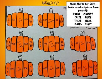 Pumpkin Puzzle: Fractions, Decimals, and Percents