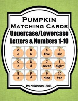 Pumpkin Puzzle Matching Cards - Uppercase/Lowercase Letters and Numbers to Ten
