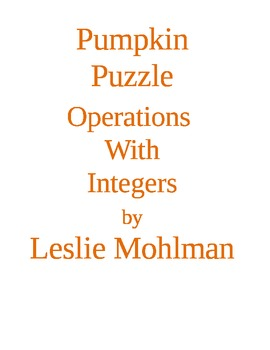 Pumpkin Puzzle:  Operations with Integers Halloween Puzzle