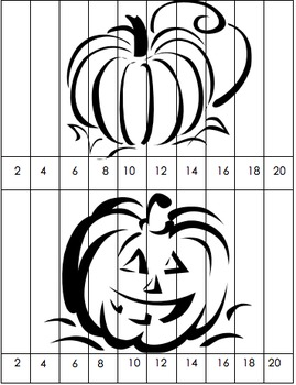 Pumpkin Puzzle Skip Counting by 2s First Grade
