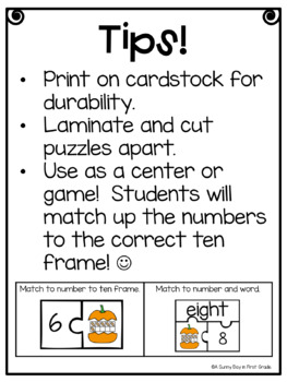 Pumpkin Puzzlers FREEBIE! {ten frames 1-10}