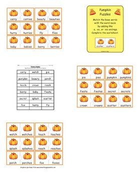 Pumpkin Puzzles (-s. -es, -ies endings)