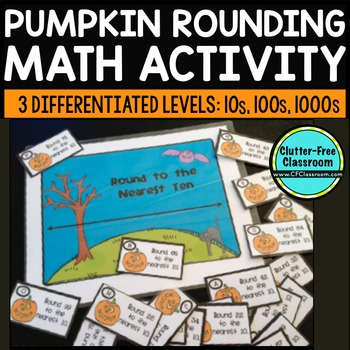 ROUNDING NUMBERS using a number line HALLOWEEN MATH CENTER ACTIVITY