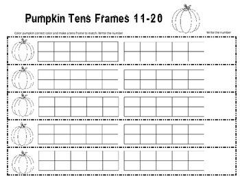 Pumpkin Read the Room Tens Frames Activity 1-20