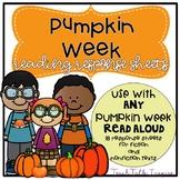 Pumpkin Reading Response Sheets