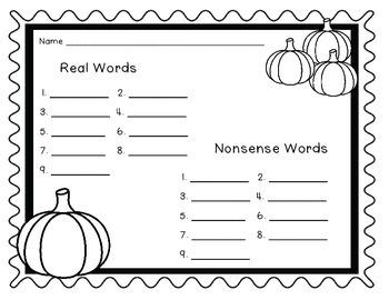Pumpkin Real and Nonsense Word Sort