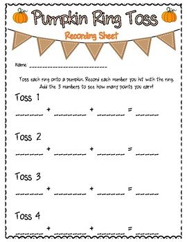 Pumpkin Ring Toss 1st Grade