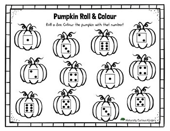 Pumpkin Roll & Colour or Cover - Subitizing Math Game 1 Dice Numbers 1-6
