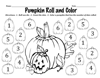 Pumpkin Roll and Color - A Halloween / October Math Activity to Identify Numbers
